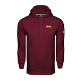 Under Armour Maroon Performance Sweats Team Hood-Iona Wordmark