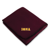 Maroon Arctic Fleece Blanket-Iona Wordmark