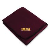Maroon Arctic Fleece Blanket-Iona Wordmark