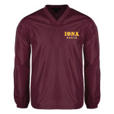V Neck Maroon Raglan Windshirt-Official Logo