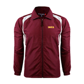 Colorblock Maroon/White Wind Jacket-Iona Wordmark