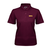 Ladies Maroon Dry Mesh Polo-Iona Wordmark