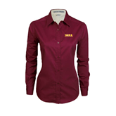Ladies Maroon Twill Button Down Long Sleeve-Iona Wordmark