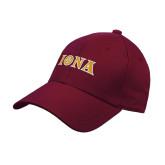 Maroon Heavyweight Twill Pro Style Hat-Iona Wordmark