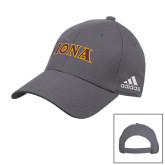 Adidas Charcoal Slouch Unstructured Low Profile Hat-Iona Wordmark
