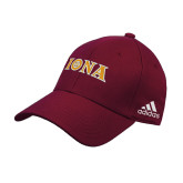 Adidas Maroon Structured Adjustable Hat-Iona Wordmark