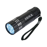 Industrial Triple LED Black Flashlight-Iona Wordmark Engraved
