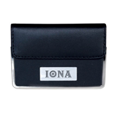 Leather Black Business Card Case-Iona Wordmark Engraved