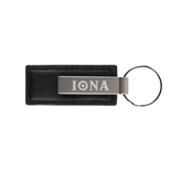 Leather Classic Black Key Holder-Iona Wordmark Engraved