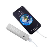 Aluminum Silver Power Bank-Iona Wordmark Engraved