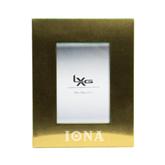 Gold Brushed Aluminum 3 x 5 Photo Frame-Iona Wordmark Engraved