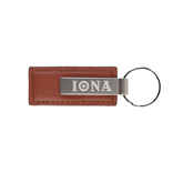 Leather Classic Brown Key Holder-Iona Wordmark Engraved