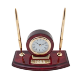Executive Wood Clock and Pen Stand-Iona Wordmark Engraved