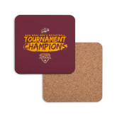 Hardboard Coaster w/Cork Backing-2018 Mens Basketball Champions - Brush