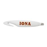 White Letter Opener and Staple Remover-Iona Wordmark