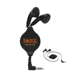 Black Retractable Ear Buds-Official Logo