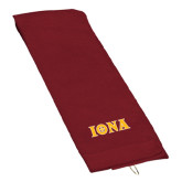 Maroon Golf Towel-Iona Wordmark