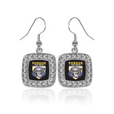 Crystal Studded Square Pendant Silver Dangle Earrings-Primary Athletic Logo