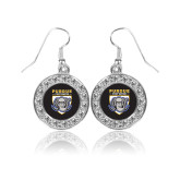 Crystal Studded Round Pendant Silver Dangle Earrings-Primary Athletic Logo
