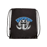 Black Drawstring Backpack-Arched IPFW with Mastodon