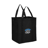 Non Woven Black Grocery Tote-Arched IPFW with Mastodon
