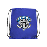 Nylon Royal Drawstring Backpack-IPFW Mastodon Shield
