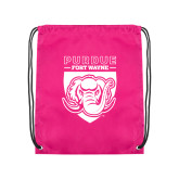 Pink Drawstring Backpack-Primary Athletic Logo