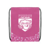 Nylon Pink Bubble Patterned Drawstring Backpack-Primary Athletic Logo