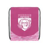 Nylon Zebra Pink/White Patterned Drawstring Backpack-Primary Athletic Logo