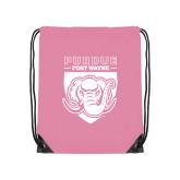 Light Pink Drawstring Backpack-Primary Athletic Logo