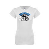 Next Level Ladies SoftStyle Junior Fitted White Tee-Arched IPFW with Mastodon