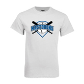 White T Shirt-Softball Bats and Plate Design