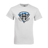 White T Shirt-IPFW Mastodon Shield Distressed