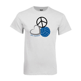 White T Shirt-Peace, Love, and Volleyball