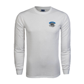 White Long Sleeve T Shirt-Arched IPFW with Mastodon
