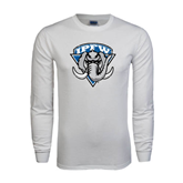 White Long Sleeve T Shirt-IPFW Mastodon Shield Distressed