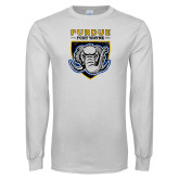 White Long Sleeve T Shirt-Primary Athletics Logo Distressed