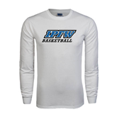 White Long Sleeve T Shirt-Basketball