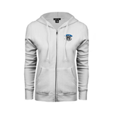 ENZA Ladies White Fleece Full Zip Hoodie-Arched IPFW with Mastodon