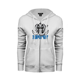 ENZA Ladies White Fleece Full Zip Hoodie-Mastodon with IPFW