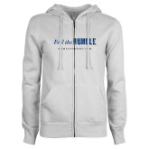 ENZA Ladies White Fleece Full Zip Hoodie-Feel the Rumble