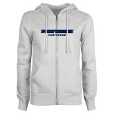 ENZA Ladies White Fleece Full Zip Hoodie-Fort Wayne Mastadons