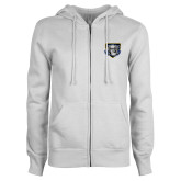 ENZA Ladies White Fleece Full Zip Hoodie-Icon