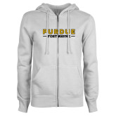 ENZA Ladies White Fleece Full Zip Hoodie-Athletics Primary Wordmark
