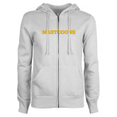 ENZA Ladies White Fleece Full Zip Hoodie-Secondary Athletic Wordmark -Mastodons