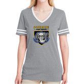 Ladies Grey Heather/White Tri Blend Varsity Tee-Primary Athletic Logo