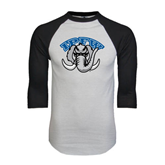 White/Black Raglan Baseball T-Shirt-Arched IPFW with Mastodon