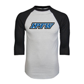 White/Black Raglan Baseball T-Shirt-IPFW