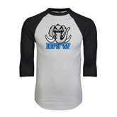 White/Black Raglan Baseball T-Shirt-Mastodon with IPFW