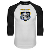 White/Black Raglan Baseball T Shirt-Primary Athletic Logo